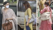 **EDS: COMBO** Mumbai: In this combo image, is seen Bollywood actresses Deepika Padukone, Shraddha Kapoor and Sara Ali Khan at the NCB office for questioning in a drug probe related to late actor Sushant Singh Rajput's death, in Mumbai, Saturday, Sept. 26, 2020. (PTI Photo)(PTI26-09-2020_000082B)